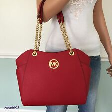 NEW! MICHAEL KORS Gorgeous Sexy Red Saffiano Leather Shoulder Bag Tote Purse