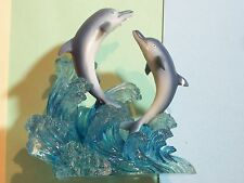 ORNAMENT DOLPHINS IN WATER A RICHESCA CORPORATION MADE IN CHINA PLASTIC