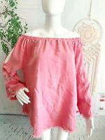 Standard Grace Women's XL Blouse Off Shoulder Pink Bell Boho Floral Embroidered
