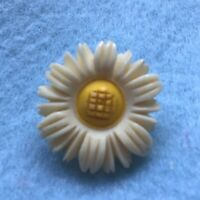 Vintage Hand Carved Bovine Daisy Flower Brooch Pin C Clasp Pretty Unusual Gift
