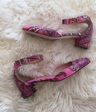 New JCrew Paisley Printed Leather Heels Sz 7.5 Pink Multi F4865