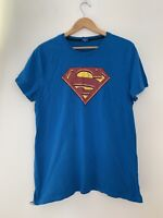 Mens Superman T Shirt L Blue Short Sleeev Casual <JJ12873