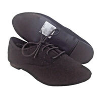 Ladies Womens Black Smart Lace Up Flat Low Heel Casual Pumps Brogue Shoes Size
