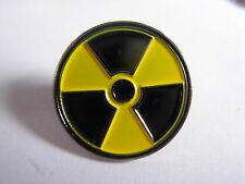 Radioactive novelty pin badge. Nuclear lapel pin. Radio Active