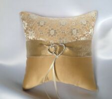 HAND MADE WEDDING RING PILLOW/DUCHESS SATIN/GOLD/HEARTS/19x19cm/7.5''x7.5''
