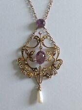 Superb Antique Art Nouveau 9ct Gold Amethyst & Seed Pearl Set Pendant Necklace