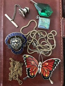 Mixed Lot Of Costume Jewellery Vintage Pin Chains Studs Silver Gold Enamel Shell