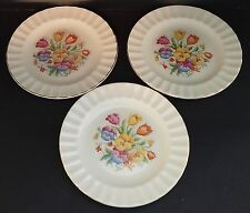 "THE EDWIN M KNOWLES CHINA CO FLORAL NEEDLEPOINT 6-1/4"" DESSERT PLATES - USA"