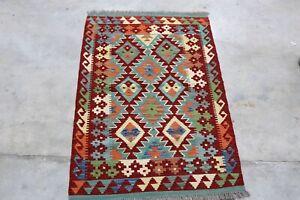 Afghan Kundoz Genuine Handmade Tribal Nomad Multi Colour Wool Kilim Rug 81x120cm