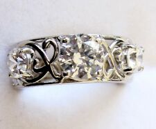 Made With Swarovski Zirconia, Lacy Band Ring, 925 Sterling Silver, sz 7 --- 4cts