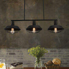 Industrial 3 Lights Pendant Lamp Linear Bar Kitchen Island Ceiling Fixture Cage