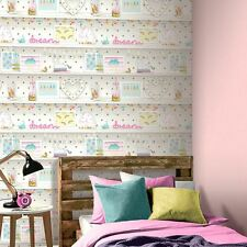 GIRLS LIFE BOOKSHELF WALLPAPER - ARTHOUSE 696004 RAINBOW UNICORN GLITTER NEW