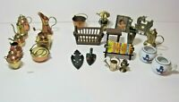 Mixed Lot Miniature Doll House Furniture Brass Copper Wood Some Made in Japan