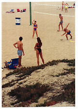Vintage 80s PHOTO Girls & Guys Playing Volleyball On Beach