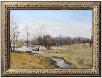 Walter Emerson Baum Original Oil Painting on Board Signed River Landscape Art