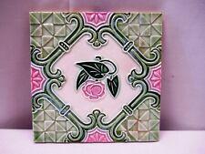 "Antique Art Nouveau Majolica Tile Pink Flower Geometric Design Embossed Gree""519"