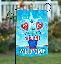 New Toland - Potted Patriotic Welcome - Summer Heart Flower Garden Flag
