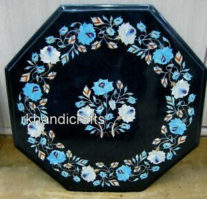 18 Inch Black Marble Coffee Table Top Inlay Side Table with Turquoise Stone Work