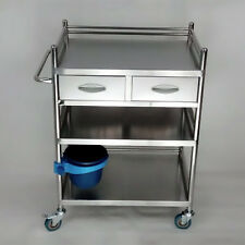 Clinic Serving Medical Dental Cart Trolley 3 Layers With 2 Drawer 60*40*86 KPA