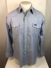 Vintage WRANGLER Western PEARL SNAP Cowboy Rockabilly Mens M/L (See Meas.) Shirt