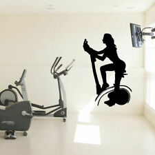 Wall Decal Fitness Club cardio workout bike Muscle Sport Gym Weight yoga M1675