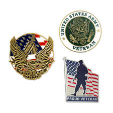 PinMart's USA Army Veteran Military Patriotic Enamel Lapel Pin Set