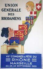 """""""VIIème CONGRES, FÊTE du RHÔNE MARSEILLE 1933"""" Affiche originale entoilée VIANO"""