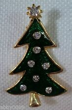 Lia Green Guilloche' Tree Decorated with Swarovski Crystal Brooch Pin