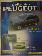 FASCICULE 45 PEUGEOT COLLECTION 104 ZS 201 JOUET  AR 504 DURISOTTI