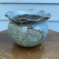 Vintage Pottery Planter Studio Thrown Blue Brown Ruffled Top Signed