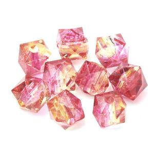 Pink/Orange Acrylic Beads Faceted Cube 8mm Pack Of 100+