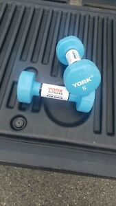 PAIR OF 5LB YORK DUMBBELS FITBELL RUBBER COATED HAND WEIGHTS TOTAL 10LBS