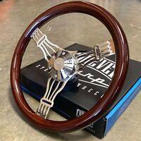 "15"" Chrome Banjo Steering Wheel Dark Wood Truck Chevy GMC Nova C10 - 6 Hole"