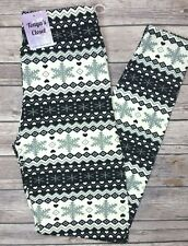 Plus Size Black White Snowflake Leggings Holiday Printed Buttery Soft 10-18