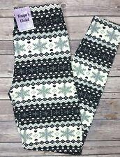 Plus Size Black and White Snowflake Heart Leggings Soft Curvy sizes 10-18