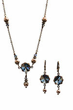 Boho Crystal Blue Shade Rivoli Round Stone Faux Pearl Necklace and Earring Set