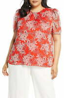 Vince Camuto Womens Crew Neck Short Sleeve Botanical Puff Sleeve Blouse (Red 2X)