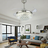 """42"""" Invisible Ceiling Fan Light LED Crystal Chandelier 3 Speed 3 Color w/Remote"""