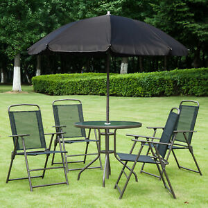 Outsunny 6pc Patio Umbrella Set Garden Dining Table Bistro Table Foldable Chairs