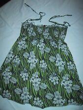 M. & H. Sommerkleid, Gr. 36 gesmokt und Spaghettiträger, grün-schwarz-weiß