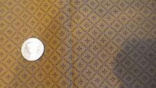 "Cotton Fabric BROWN SQS ON OLD GOLD Autumn Garden Thimbleberries 2006 1/2 Yd/44"""