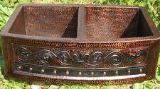 * Double 50/50 Copper Farmhouse Kitchen Sink  Round Apron Fleur De Lis design