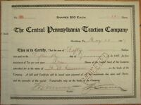 Central Pennsylvania Traction Company 1907 Trolley/Tram Stock Certificate - PA
