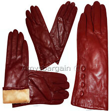 Leather gloves. Woman's Size (XL) Red Leather Red winter Gloves. Dress Gloves BN