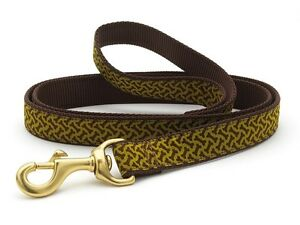"""Up Country - Dog Puppy Design Leash - Made In USA - Bones - 4' - 5/8"""" 1"""" wide"""
