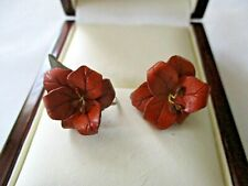 VINTAGE BROWN LEATHER FLOWER SCREW ON EARRINGS