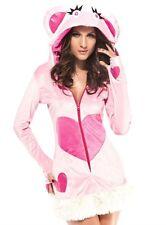 Sexy Women's Pink Love Fluffy Bear Fancy Dress Costume