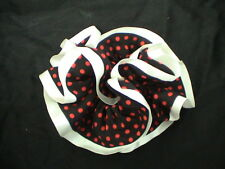 BLACK & RED POLKA DOT PONYTAIL HOLDER with WHITE EDGE - CUTE! UNIQUE! NEW!