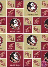 NCAA Florida State University Seminoles FSU Block Cotton Fabric By the Yard