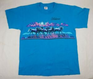 Vintage 1990 Horse Nature Oklahoma Moon 2-Sided T-Shirt L Lifestyles Wrap-Around